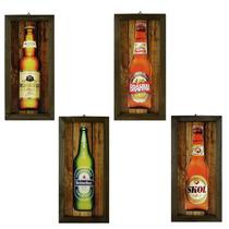 4 Quadros C/ Moldura Rústica - Cerveja - Bar - Churrasco
