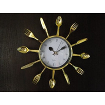 Relógio De Parede Cozinha Talheres Dourado-pronta Entrega