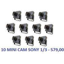 10 Mini Cameras Ccd Sony 1/3 Day Night 500linhas + Fonte 5a
