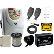 Kit Cerca Elétrica + Kit Alarme Para 120m Linear Omegasat