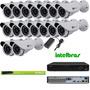 Kit Cftv 16 Cameras 1/3 800 Linhas +dvr 16 Canais Intelbras