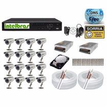 Kit Cftv 16 Cameras Ir Sony Dvr 16 Canais Intelbras Hd 1tb