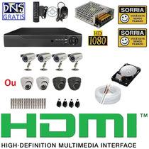 Kit Cftv 4 Cameras Sony 1000 Linhas Completo Dvr 4 Canais D1