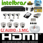 Kit Cftv 4 Cameras Infra Ccd Sony Dvr 4 Canais Intelbras Hd