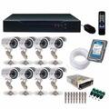 Kit Cftv Dvr 8 Canais C/ 8 Cameras Infra De Seg. Completo 4p