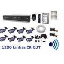 Kit Cftv 8 Cam Infra + Ir-cut Hd Dvr 16 Canais Com Audio
