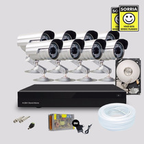 Kit 8 Cameras Segurança Infravermelho Dvr Stand Alone Hd 500