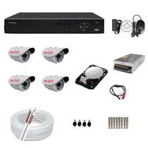 Kit 4 Cameras Infra Ir Cut Dvr 4 Canais Intelbras Full D1+hd