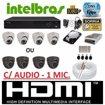 Kit 4 Cameras Infra Dome Dvr Intelbras 4 Canais Full D1 + Hd