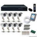 Kit Cftv Dvr 8 Canais C/ 8 Cameras Infra De Seg. Completo 7p