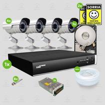 Kit Sistema Monitoramento Completo 4 Câmeras Luxvision Hd1tb