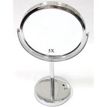 Espelho Metal P/ Maquiagem Dupla Face Aumento 5x De Mesa