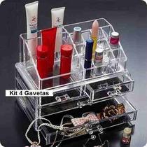 Kit Organizador Completo 4 Gavetas Porta Maquiagem + Brinde