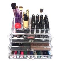 Porta Maquiagem Pincel Batom Acrílico Organizador 3 Gavetas