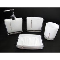 Kit Jogo Banheiro 4 Pçs Acrílico Strass Branco Ou Preto
