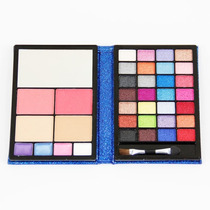Kit Maquiagem Sombra 3d Blush Batom Pó Facial Jasmyne - Azul