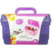 Maleta Manicure Chic Bag Roxa Para Esmaltes E Acessórios