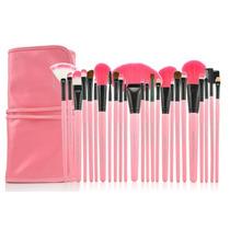 Kit 24 Peças De Pincéis Rosa P/ Maquiagem - Make-up For You