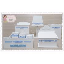Promoção Kit Higiene Bebê Mdf Branco 8 Peças Com Fita Nome