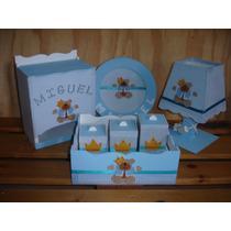 Kit Higiene Bebê 7 Peças Príncipe Ursinho Menino Mdf+brinde