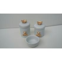 Kit Com 2 Porta Trecos E Molhadeira Porcelana Decorado