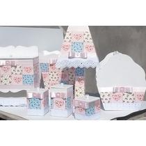 Kit Higiene Bebê Mdf Decorado Com Tecido (7 Peças)