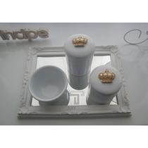 Kit Bandeja Porcelana Bebê Higiene Quarto Coroa Rosa Passaro