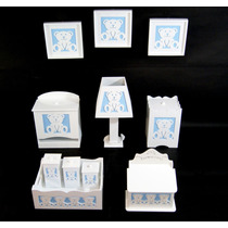 Kit Quarto Bebê Higiene Banho Mdf Ursinhos C/quadros 3d