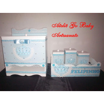 Kit Higiene Bebê Coroa Ursinho Príncipe 5 Peças