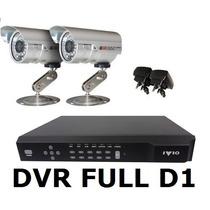 Kit Monitoramento Cftv Dvr Stand Alone + 02 Câmeras + Fontes