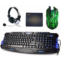 Kit Teclado Gamer Iluminado + Mouse Gamer + Mouse Pad
