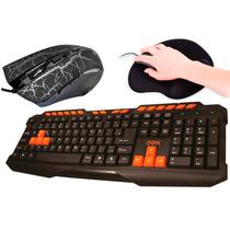 Kit Gamer 3 Em1 Teclado + Mouse Gamer+ Mouse Pad Para Jogos