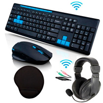 Kit Gamer Teclado Abnt2 + Mouse Sem Fio + Fone Headset + Pad