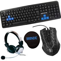 Kit Gamer Teclado Abnt2 Mouse 3200dpi Fone Headset Mouse Pad