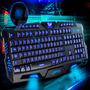 Teclado Gamer Luminoso 3 Cores De Led Neon Azul Verm. Roxo