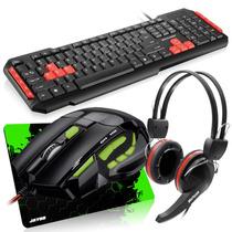 Kit Gamer Teclado + Mouse + Fone Multilaser + Mousepad Jayob