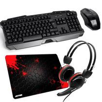 Kit Gamer Multilaser Mouse + Teclado Sem Fio + Fone + Pad