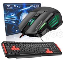 Kit Gamer Multilaser Mouse + Teclado Multimidia + Mousepad