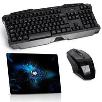 Kit Gamer Teclado + Mouse + Mouse Pad - Sem Fio / Multimídia