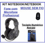 Kit Multimídia Notebook Mouse S/fio Headset Teclado Numérico