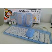 Kit Teclado E Mouse + Caixinha De Som Usb Novo C/ Garantia