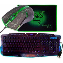 Kit Teclado Gamer+ Mouse Led 3200dpi+ Mouse Pad Razer Mantis