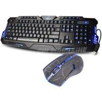 Kit Teclado Gamer Iluminado 3 Led + Mouse Gamer 3200 Dpi 6d