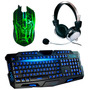Kit Gamer Teclado 3 Led + Mouse 3200 Dpi Led+ Fone Headset Ç