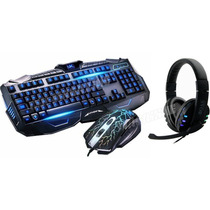 Kit Gamer Teclado Iluminado + Mouse 3200 Dpi + Fone Headset