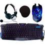 Kit Gamer Teclado Ç+ Mouse Led 3200 Dpi + Fone Headset + Pad