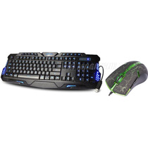 Kit Teclado Gamer Multimidia 3 Led + Mouse Gamer 3200 Dpi 6d