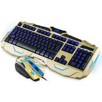 Teclado Gamer Multimídia + Mouse Usb Iluminadas Jogos V-100