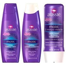 Kit Aussie Moist- Shampoo + Condicionador + 3 Minute Miracle