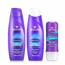 Kit Aussie Shampoo + Condicionador+ Moist Milagre 3 Minutos